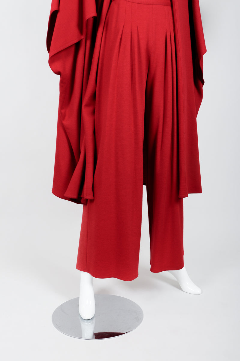 Vintage Sonia Rykiel Red Knit Cape Coat & Pant Set on mannequin pant hem at Recess