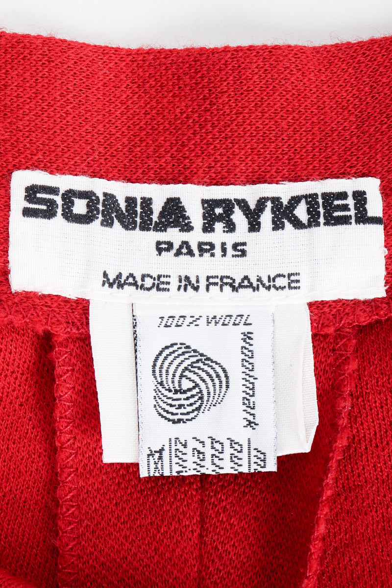 Vintage Sonia Rykiel Red Knit Pant Set label on red