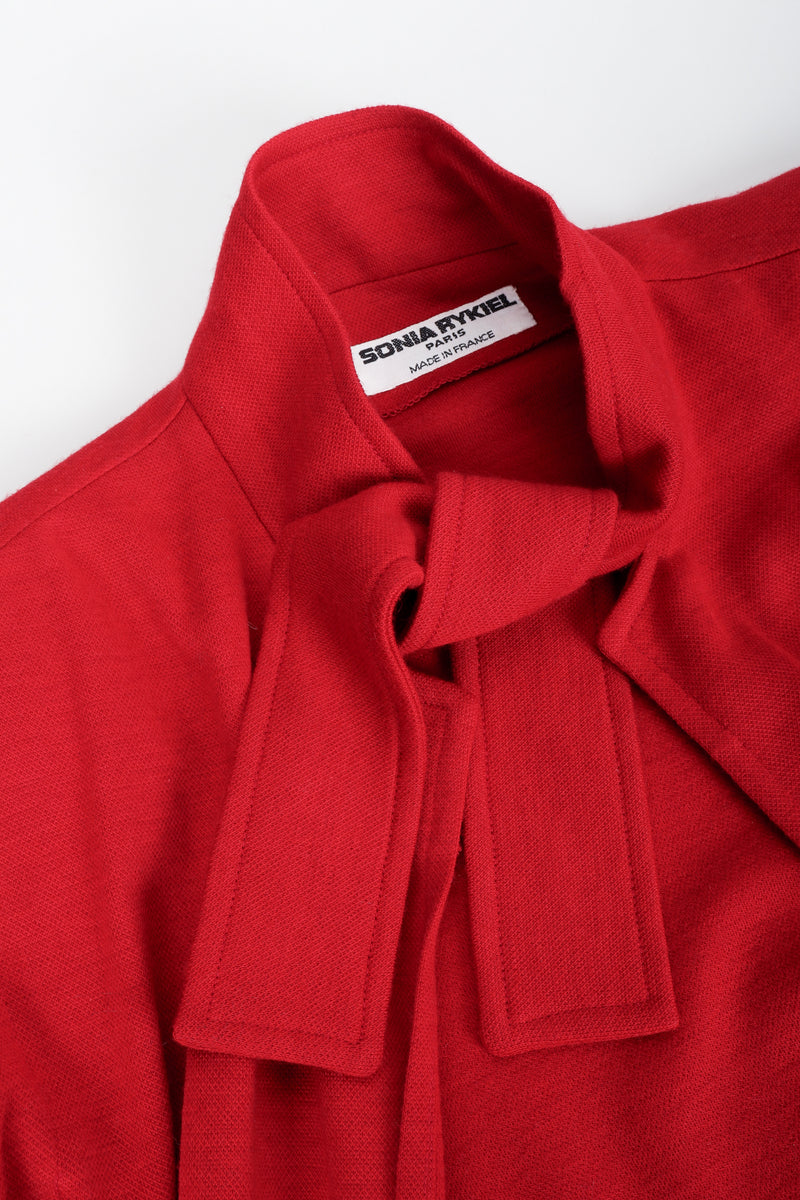 Vintage Sonia Rykiel Red Knit Cape Coat Set Neckline Detail at Recess