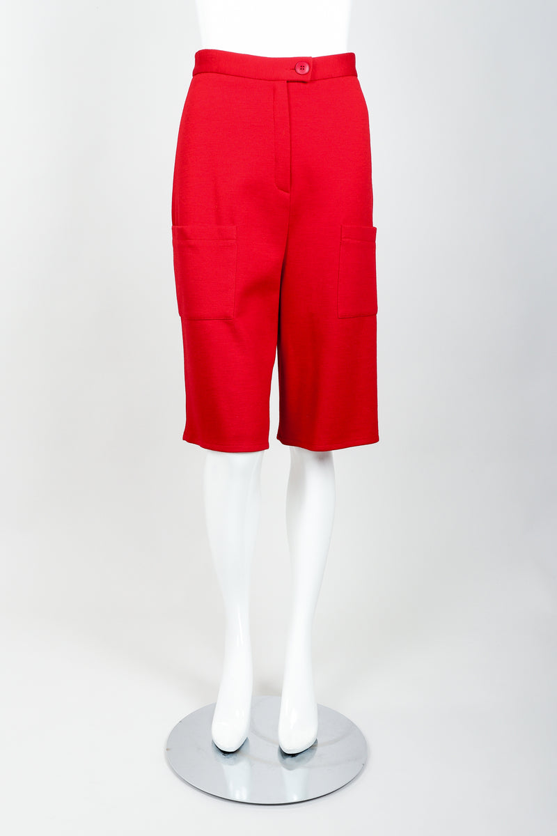 Vintage Sonia Rykiel Red Knit Bermuda Walking Shorts on mannequin front at Recess