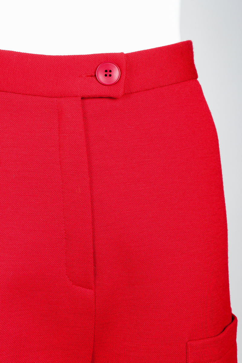 Vintage Sonia Rykiel Red Knit Bermuda Walking Shorts on mannequin Waistband detail at Recess