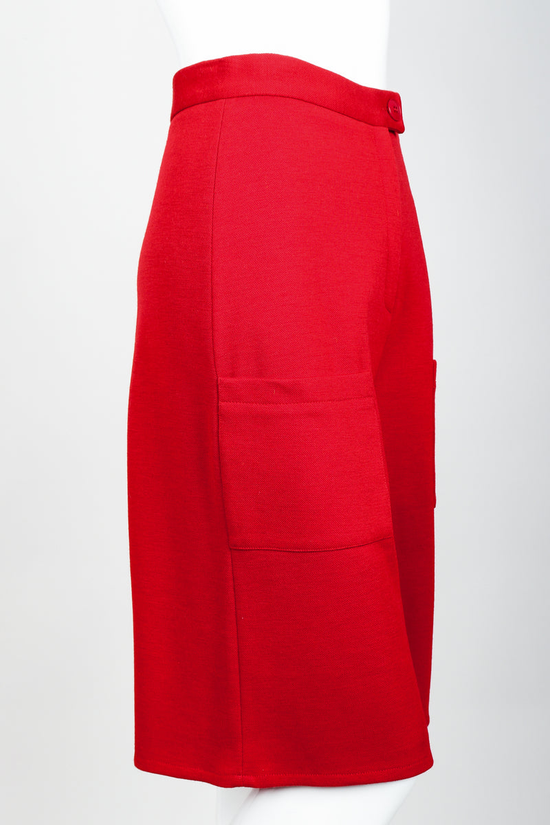 Vintage Sonia Rykiel Red Knit Bermuda Walking Shorts on mannequin Side at Recess