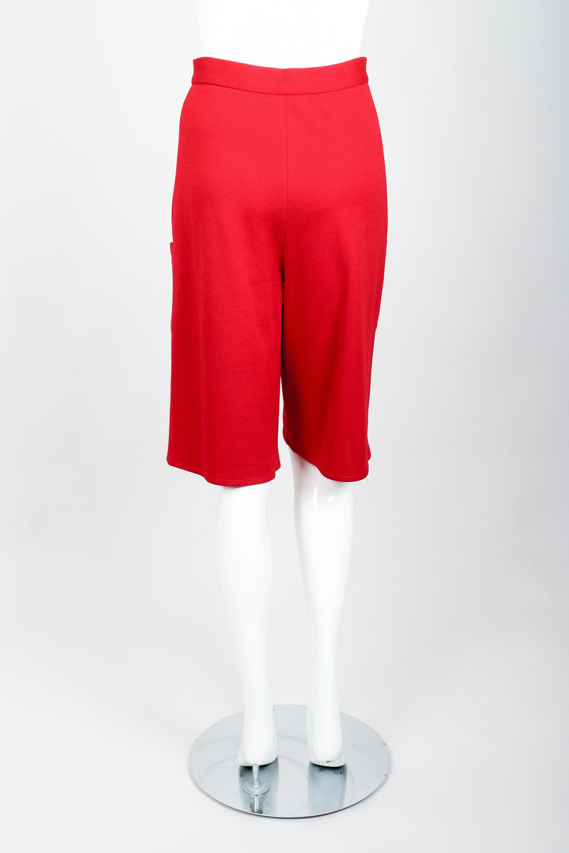 Vintage Sonia Rykiel Red Knit Bermuda Walking Shorts on mannequin Back at Recess