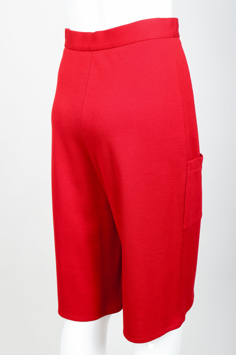 Vintage Sonia Rykiel Red Knit Bermuda Walking Shorts on mannequin rear angle at Recess
