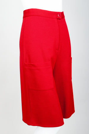 Vintage Sonia Rykiel Red Knit Bermuda Walking Shorts on mannequin front angle at Recess