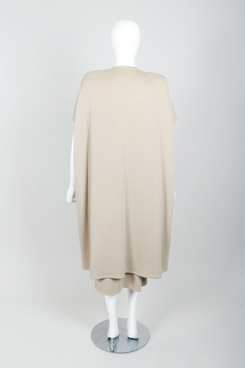 Vintage Sonia Rykiel Sand Beige Knit Cape & Skirt Set on Mannequin back at Recess