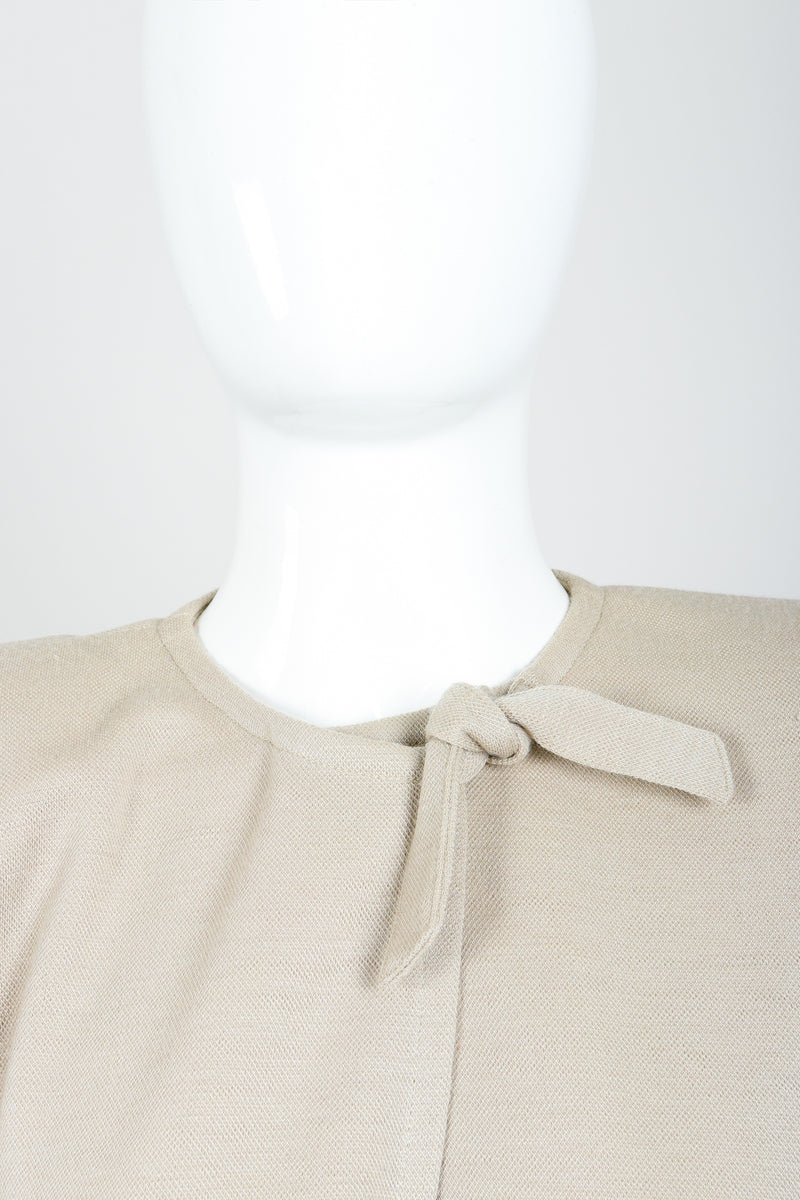 Vintage Sonia Rykiel Sand Beige Knit Cape & Skirt Set on Mannequin neckline at Recess