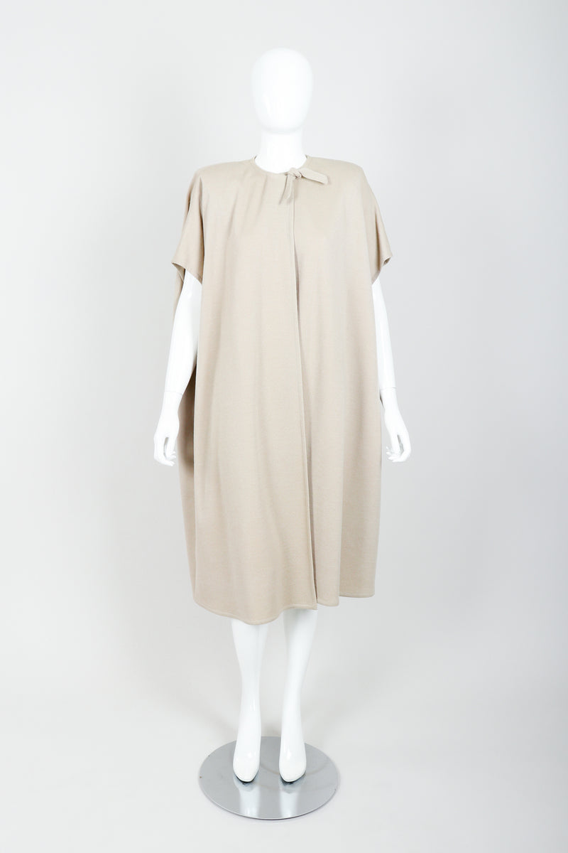 Vintage Sonia Rykiel Sand Beige Knit Cape & Skirt Set on Mannequin front closed at Recess