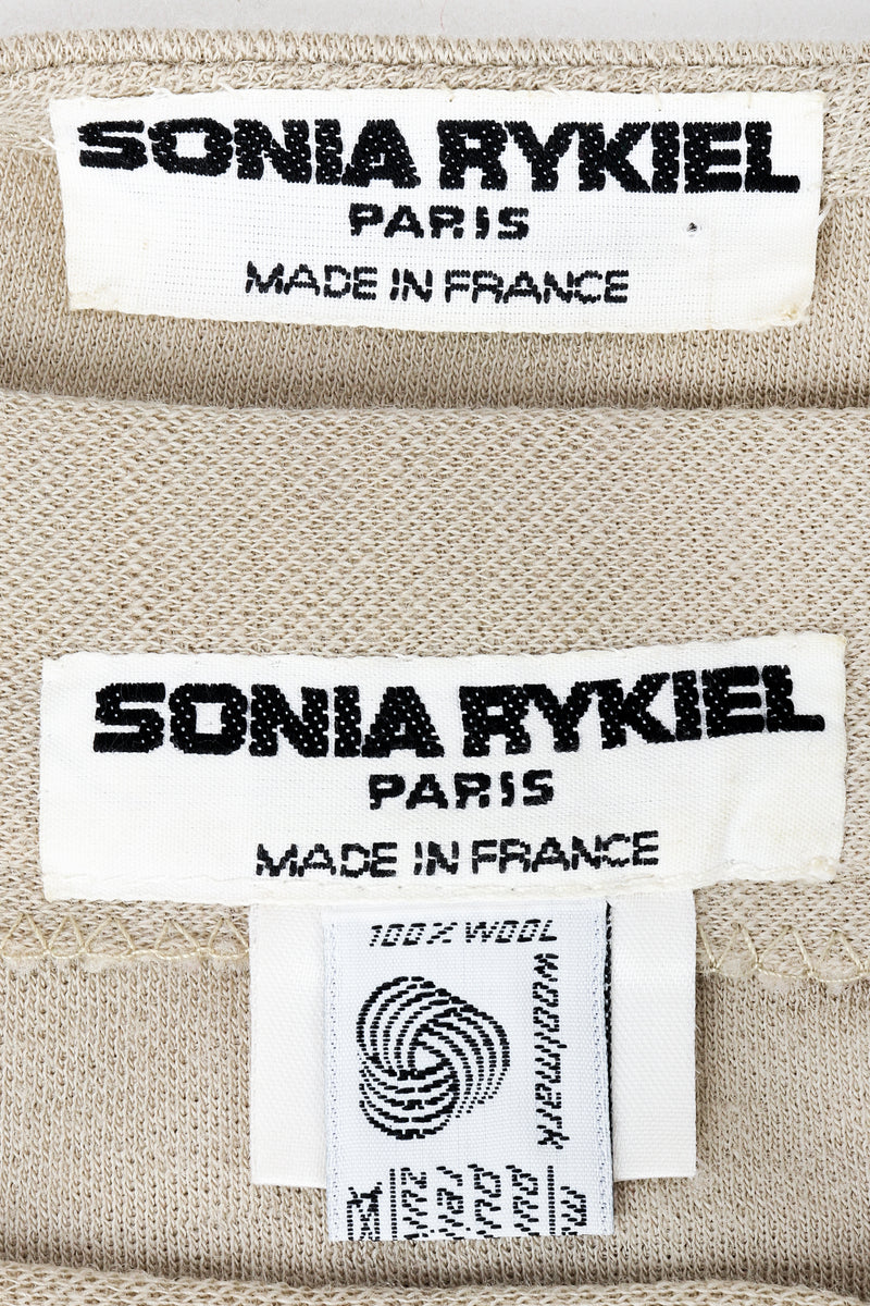 Vintage Sonia Rykiel labels on beige