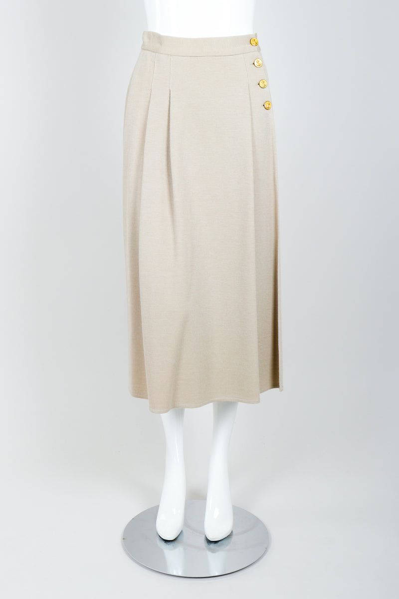 Vintage Sonia Rykiel Sand Beige Knit Skirt Set on Mannequin front at Recess