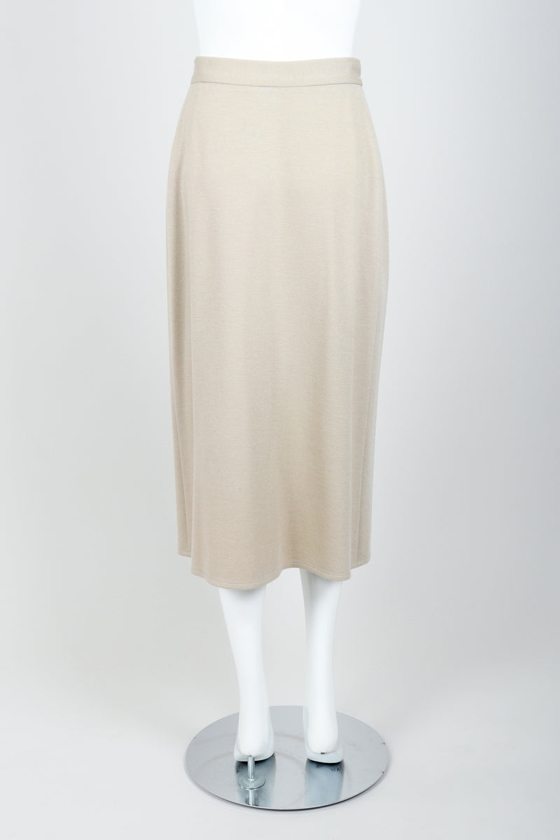Vintage Sonia Rykiel Sand Beige Knit Skirt Set on mannequin back