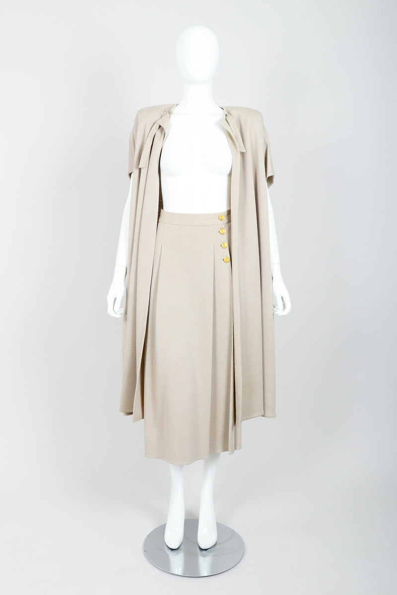 Vintage Sonia Rykiel Sand Beige Knit Cape & Skirt Set on Mannequin open at Recess