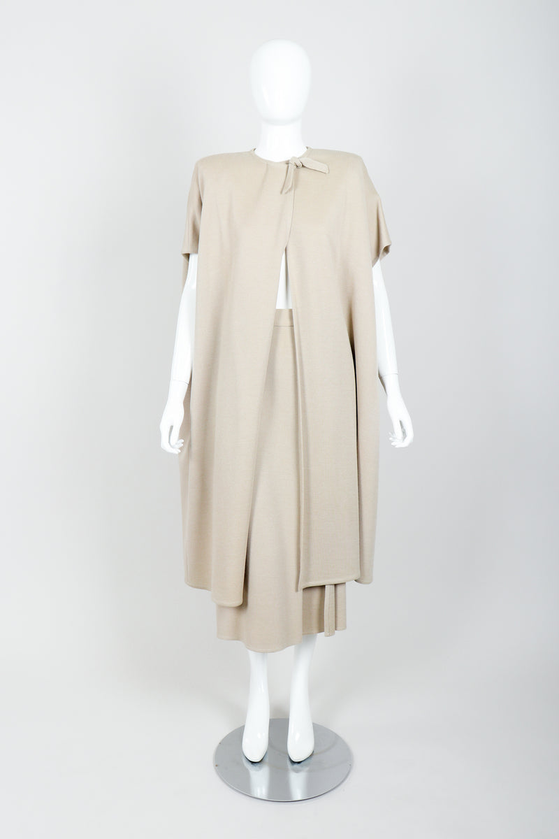 Vintage Sonia Rykiel Sand Beige Knit Cape & Skirt Set on Mannequin front at Recess