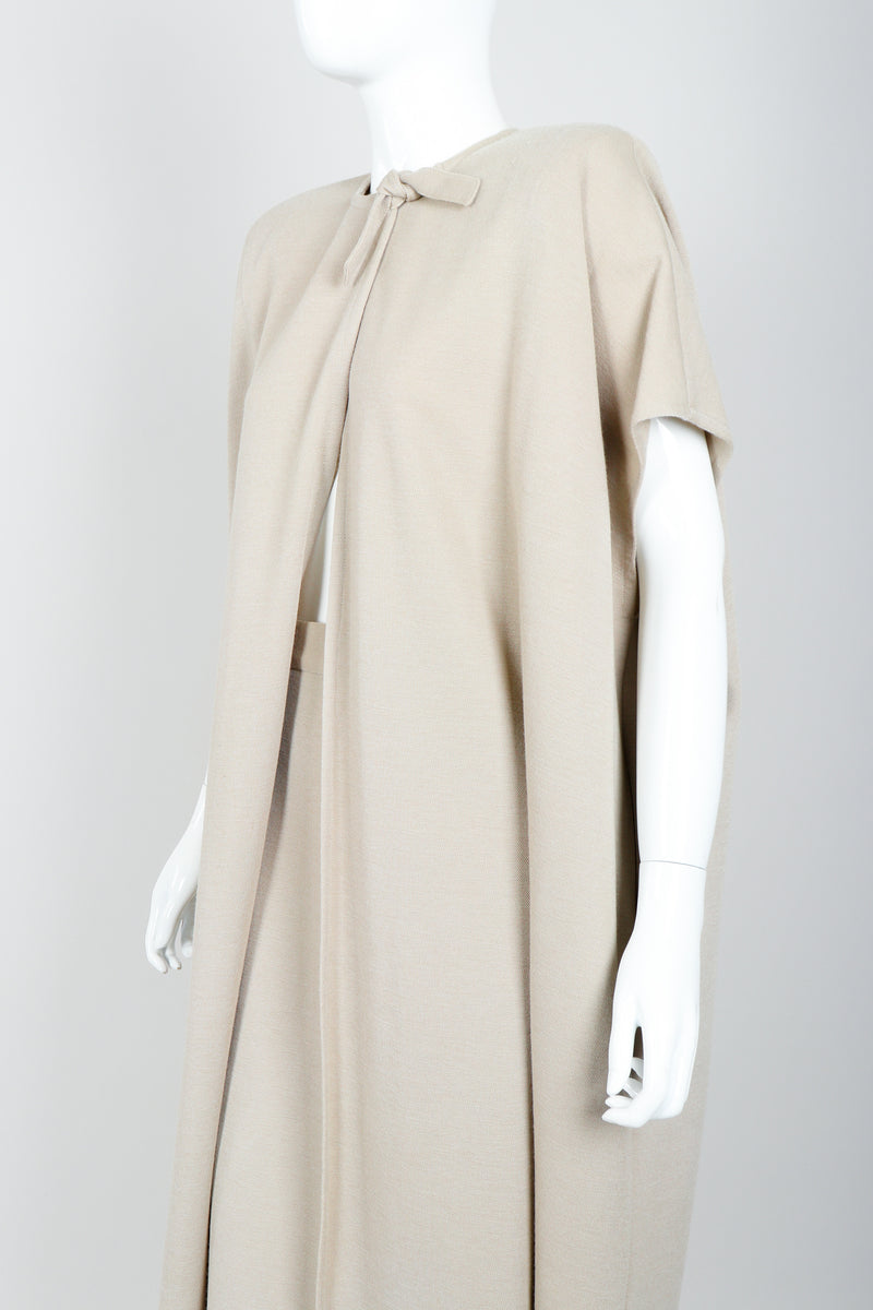 Vintage Sonia Rykiel Sand Beige Knit Cape & Skirt Set on Mannequin angled at Recess