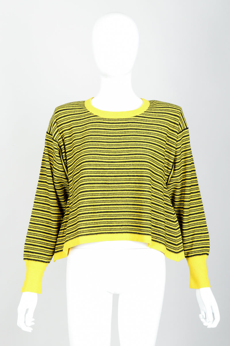 Vintage Sonia Rykiel Yellow Stripe Knit Boxy Sweater on Mannequin Front at Recess