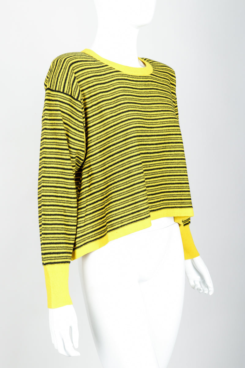Vintage Sonia Rykiel Yellow Stripe Knit Boxy Sweater on Mannequin Side at Recess