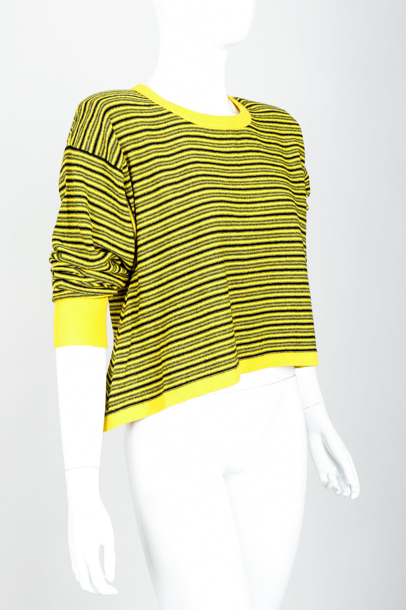 Vintage Sonia Rykiel Yellow Stripe Knit Boxy Sweater on Mannequin Sleeves pushed at Recess