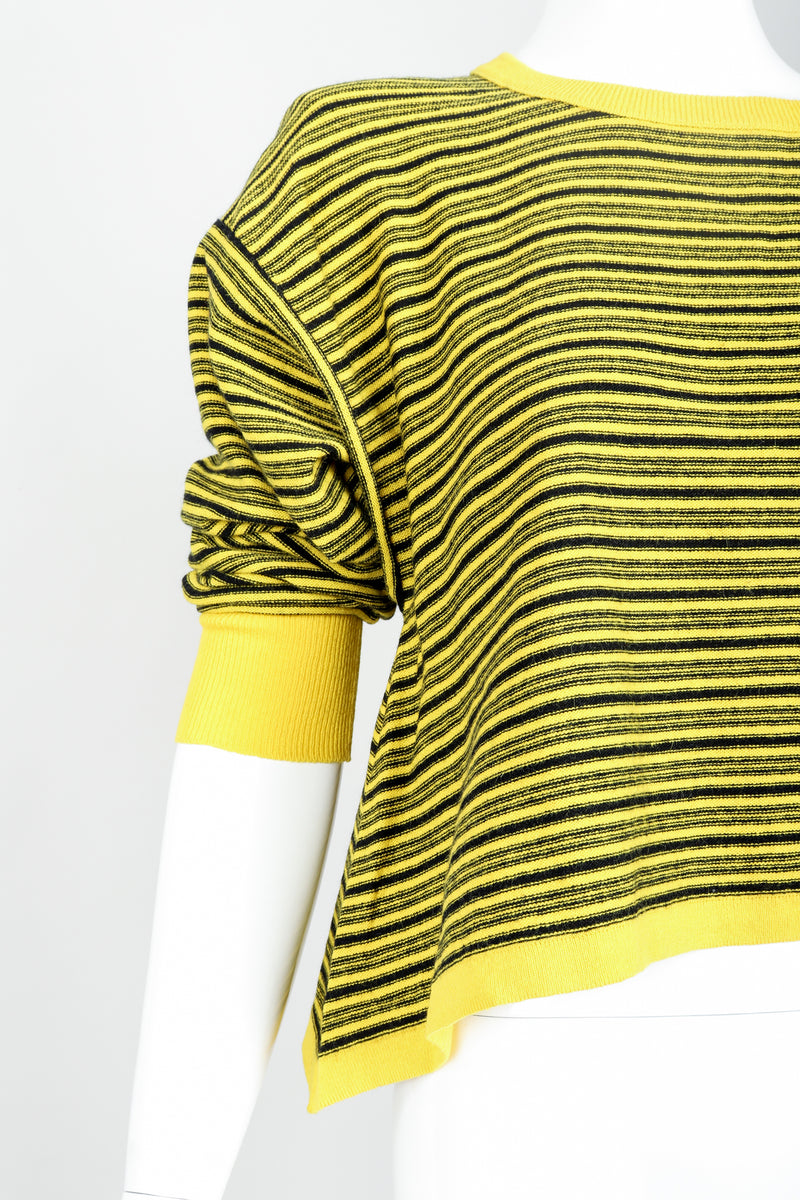 Vintage Sonia Rykiel Yellow Stripe Knit Boxy Sweater on Mannequin Hem Detail at Recess
