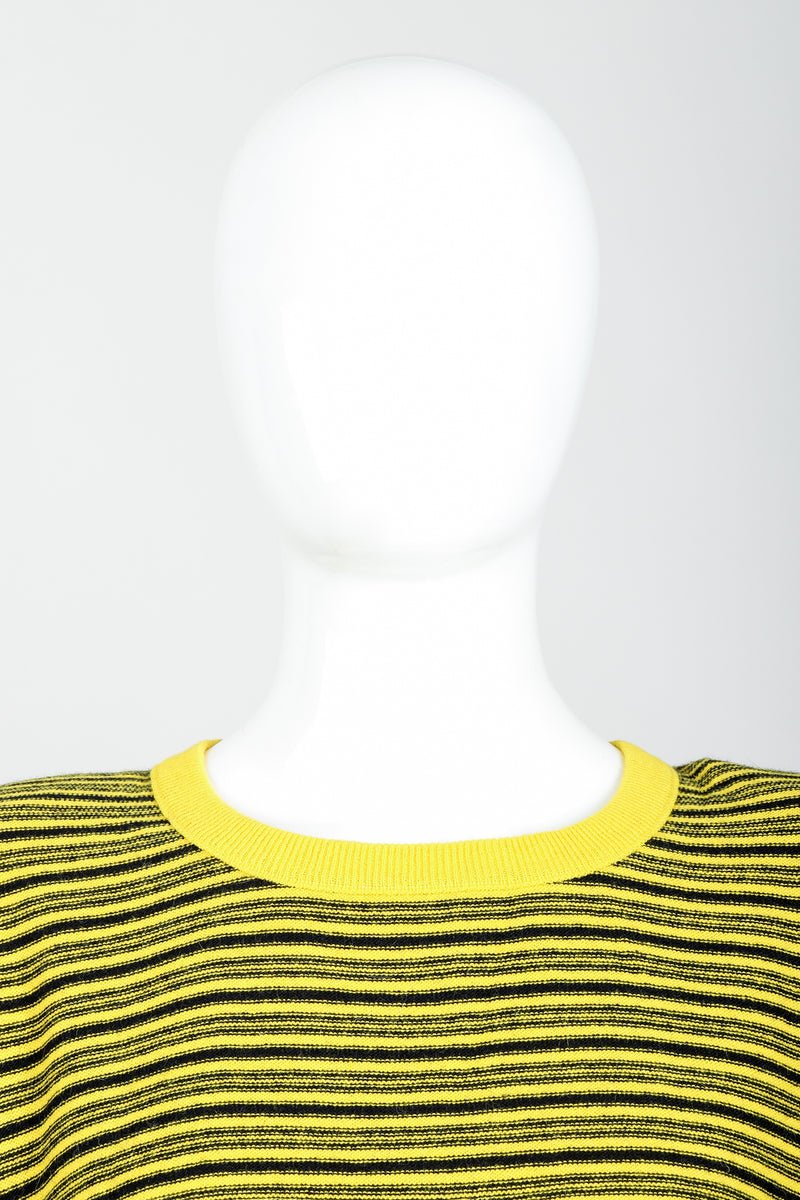 Vintage Sonia Rykiel Yellow Stripe Knit Boxy Sweater on Mannequin neckline at Recess