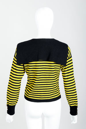 Vintage Sonia Rykiel Yellow Stripe Knit Sailor Sweater on mannequin Back at Recess