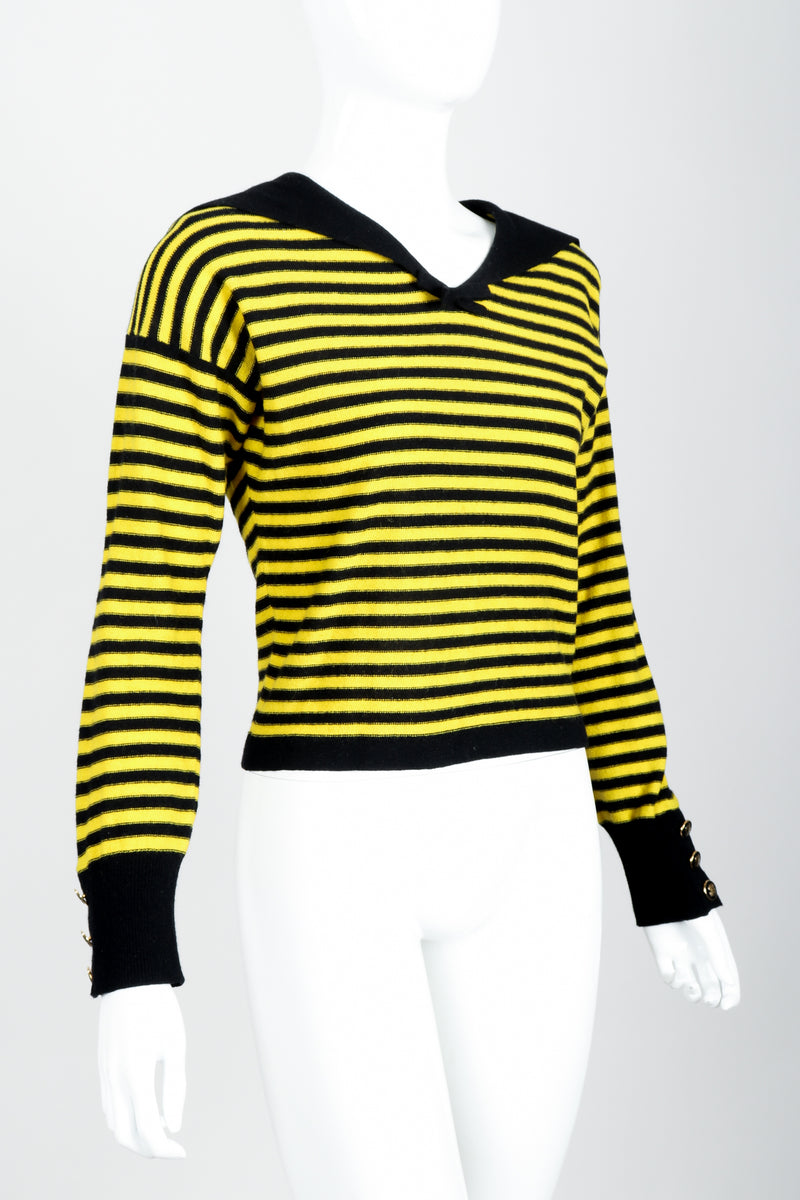 Vintage Sonia Rykiel Yellow Stripe Knit Sailor Sweater on mannequin angled at Recess