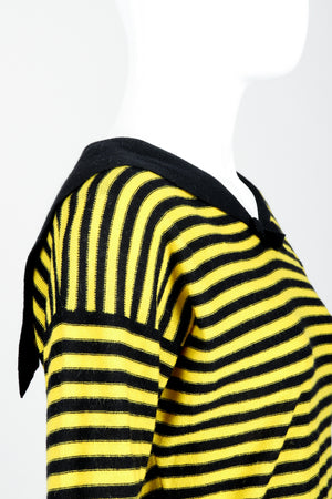 Vintage Sonia Rykiel Yellow Stripe Knit Sailor Sweater on mannequin side crop at Recess