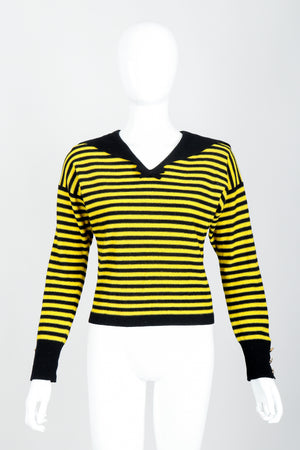 Vintage Sonia Rykiel Yellow Stripe Knit Sailor Sweater on mannequin Front at Recess