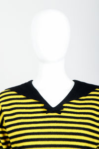 Vintage Sonia Rykiel Yellow Stripe Knit Sailor Sweater on mannequin neckline at Recess