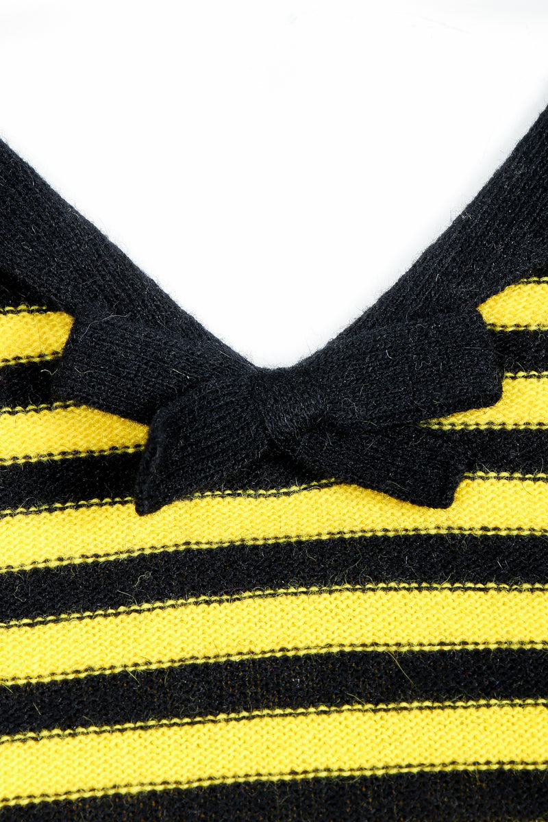 Vintage Sonia Rykiel Yellow Stripe Knit Sailor Sweater on mannequin bow detail at Recess