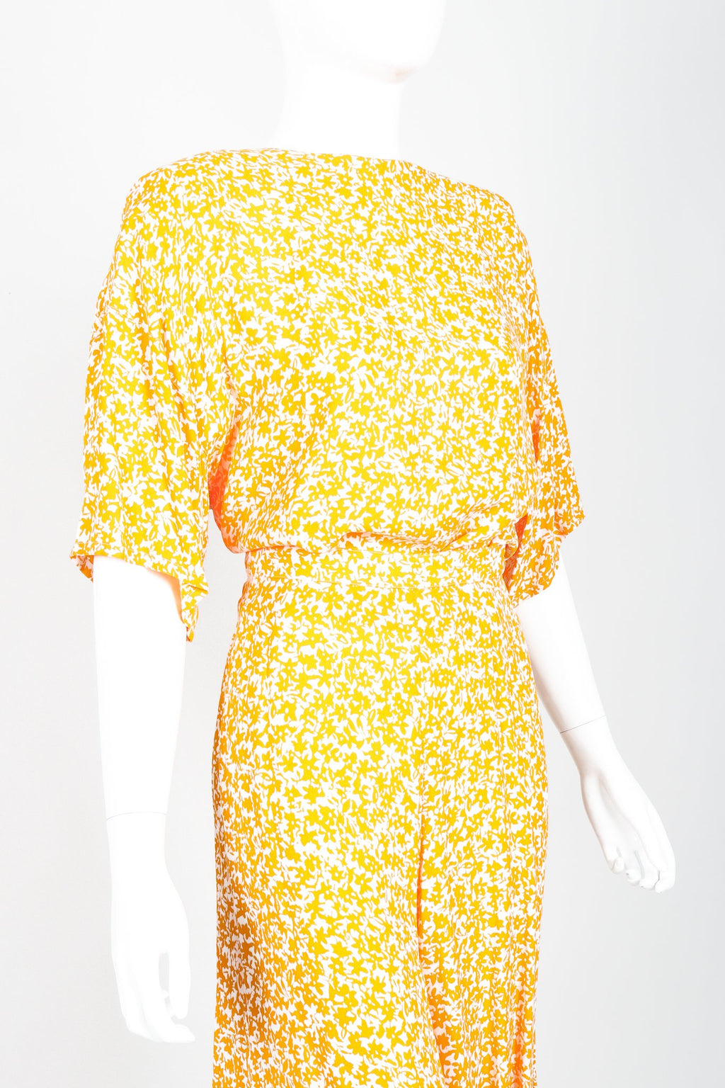 Vintage Sonia Rykiel Graphic Floral Boxy Top and Culotte Set Angled Crop at Recess