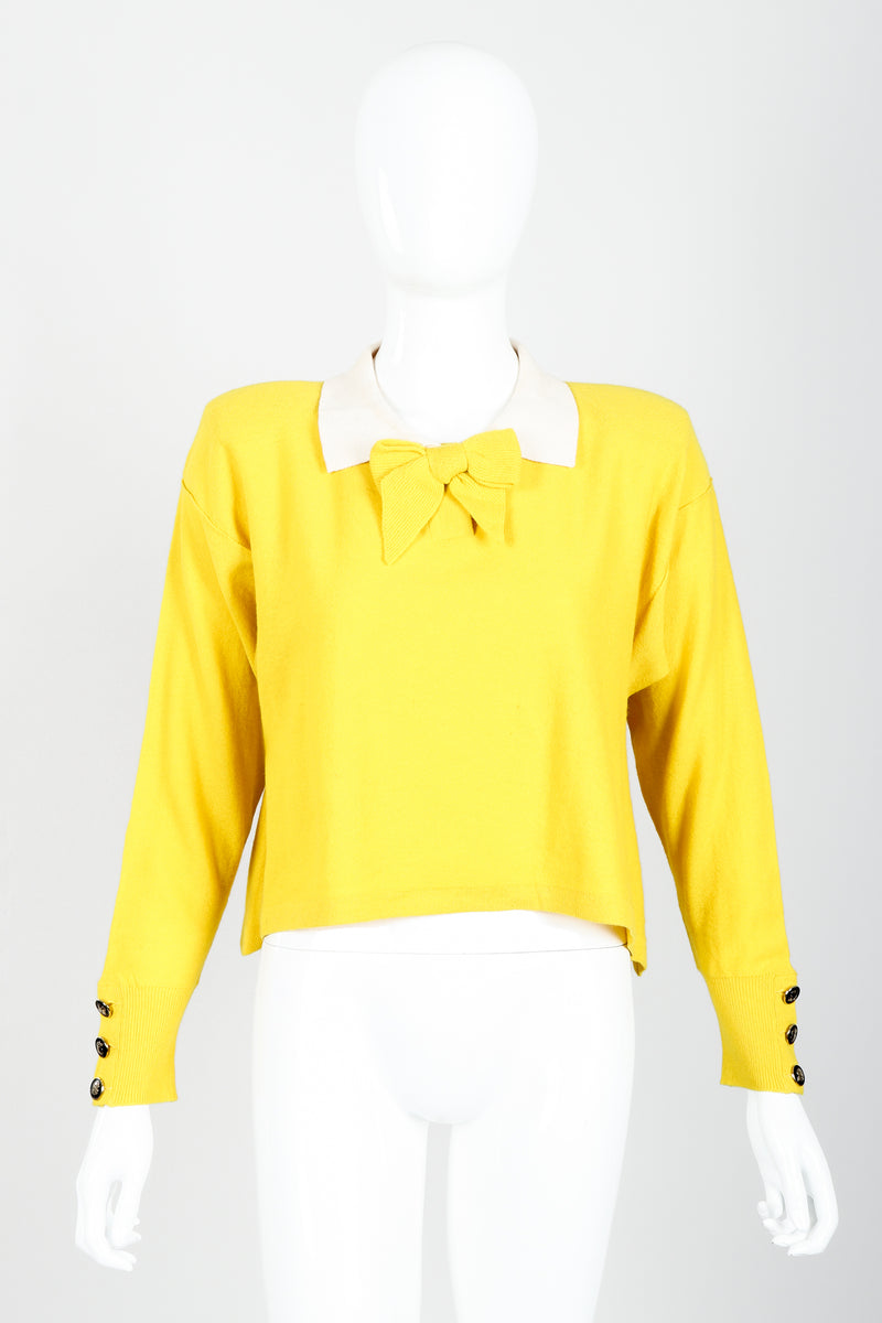 Vintage Sonia Rykiel Yellow Bow Collared Swing Sweater on Mannequin Front at Recess