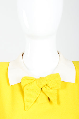 Vintage Sonia Rykiel Yellow Bow Collared Swing Sweater on Mannequin Collar at Recess