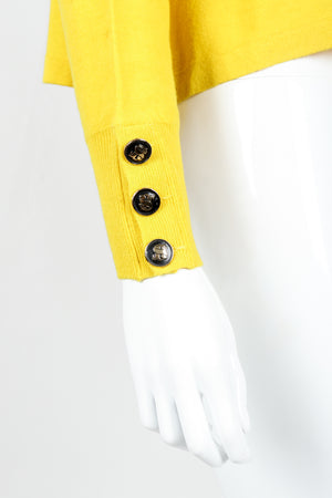 Vintage Sonia Rykiel Yellow Bow Collared Swing Sweater on Mannequin Sleeve Buttons at Recess