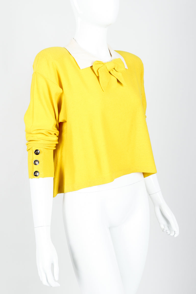 Vintage Sonia Rykiel Yellow Bow Collared Swing Sweater on Mannequin Angled at Recess Los Angeles