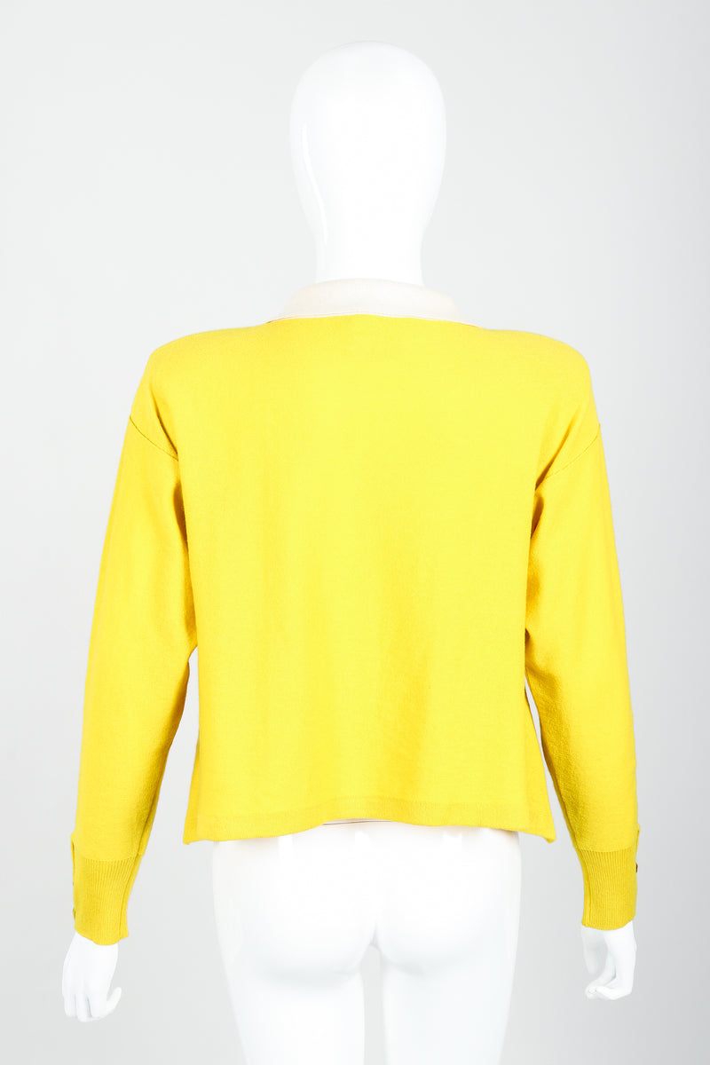Vintage Sonia Rykiel Yellow Bow Collared Swing Sweater on Mannequin Back at Recess