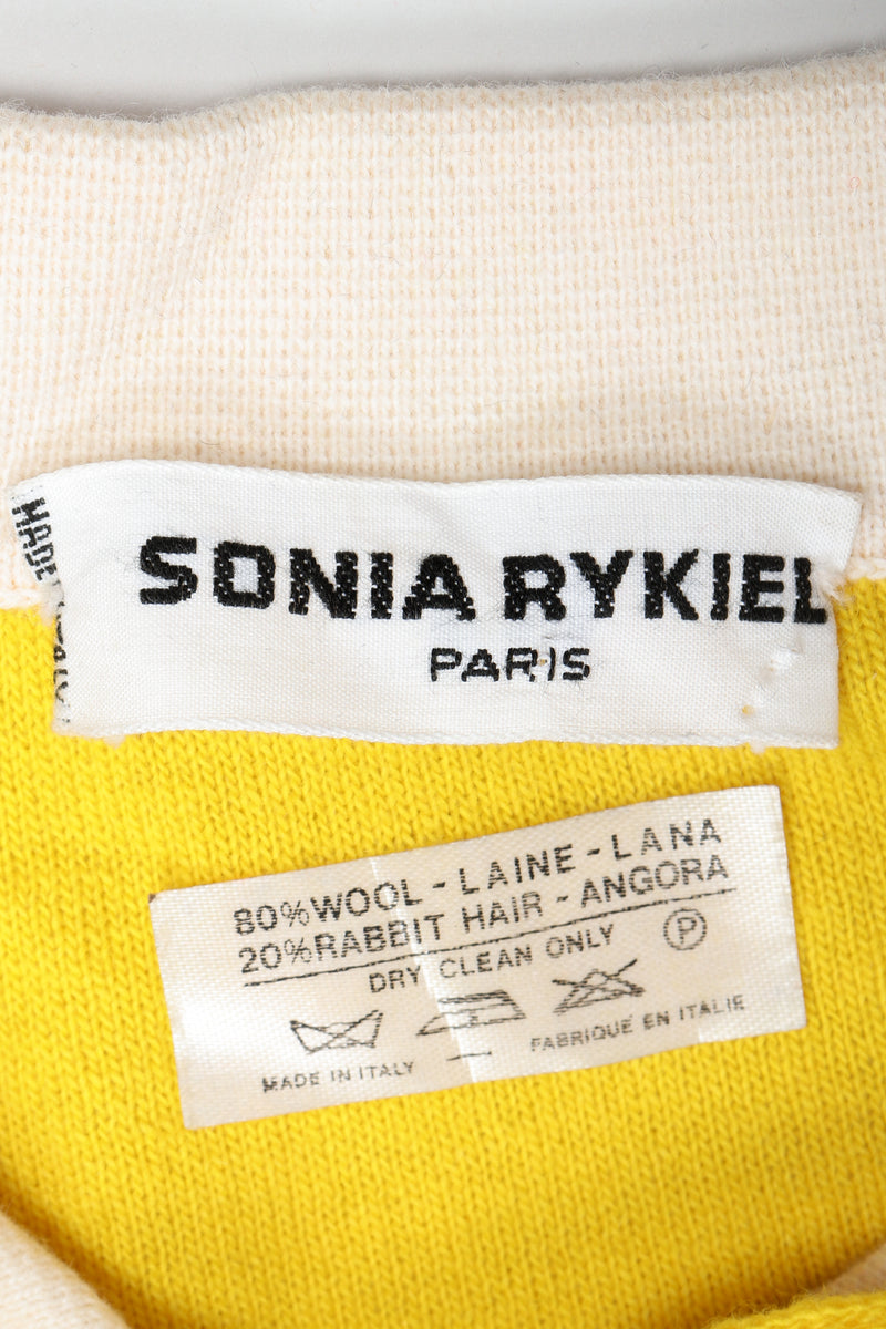 Vintage Sonia Rykiel Label and Contents on Yellow