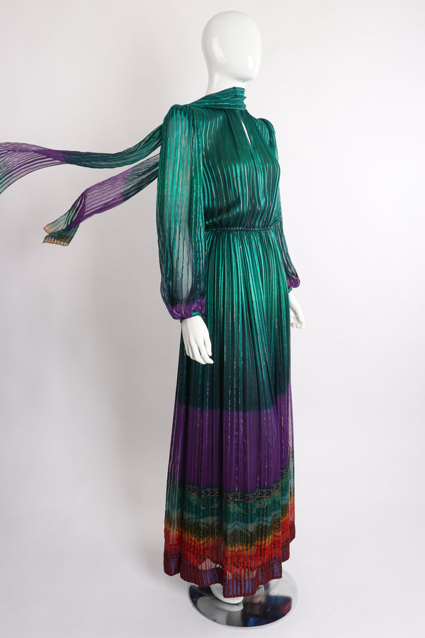 Vintage Soo Yung Lee Chiffon Rainbow Ombré Dress on Mannequin angle scarf at Recess Los Angeles