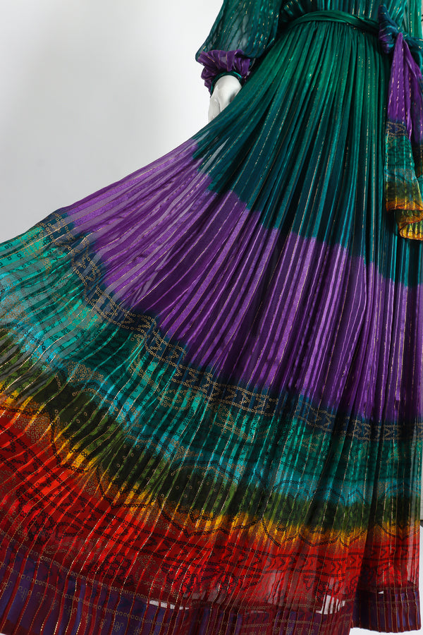 Vintage Soo Yung Lee Chiffon Rainbow Ombré Dress on Mannequin Skirt detail at Recess Los Angeles