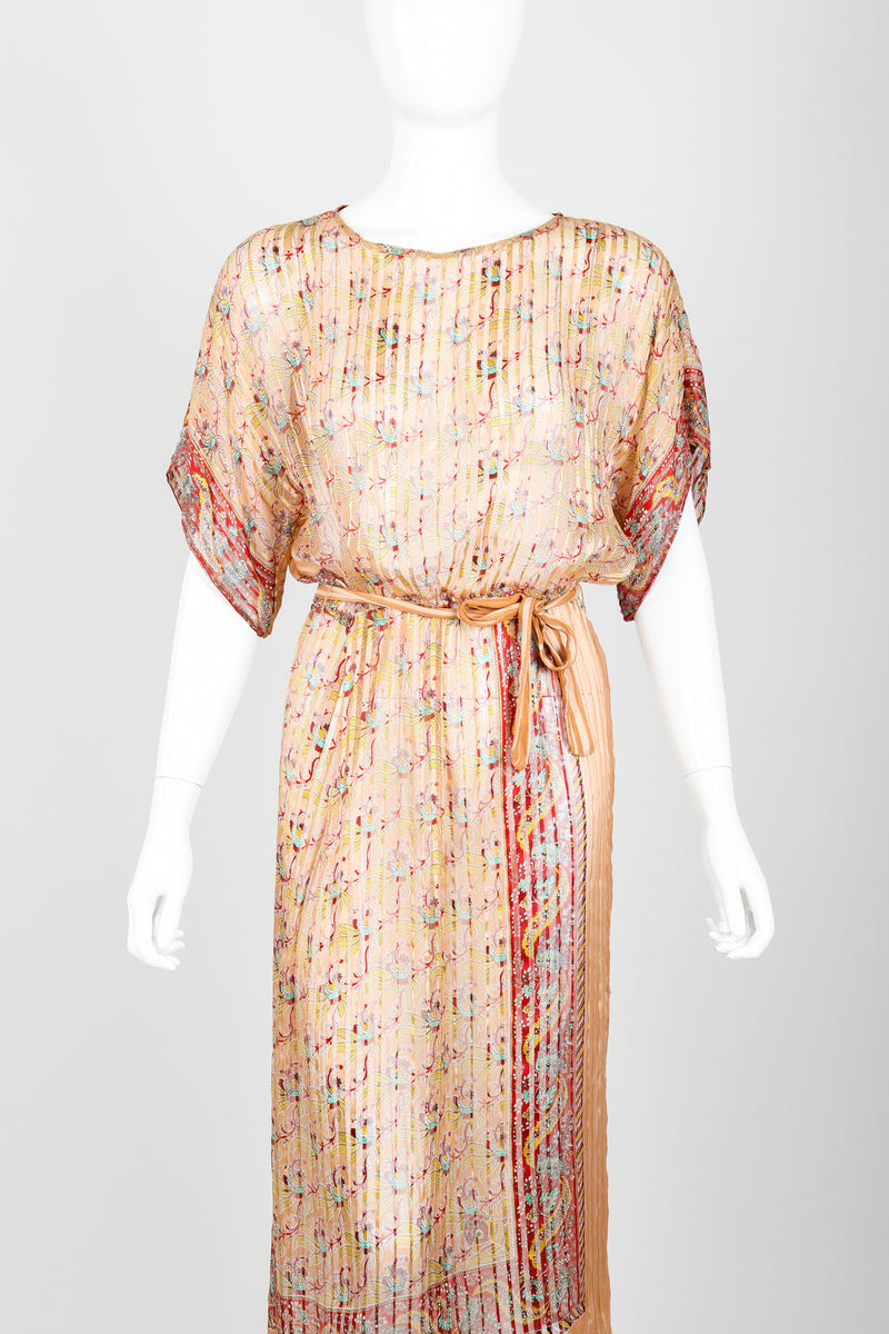 Vintage St. Piel Sheer Silk Chiffon Stripe Sarong Dress on Mannequin front crop at Recess