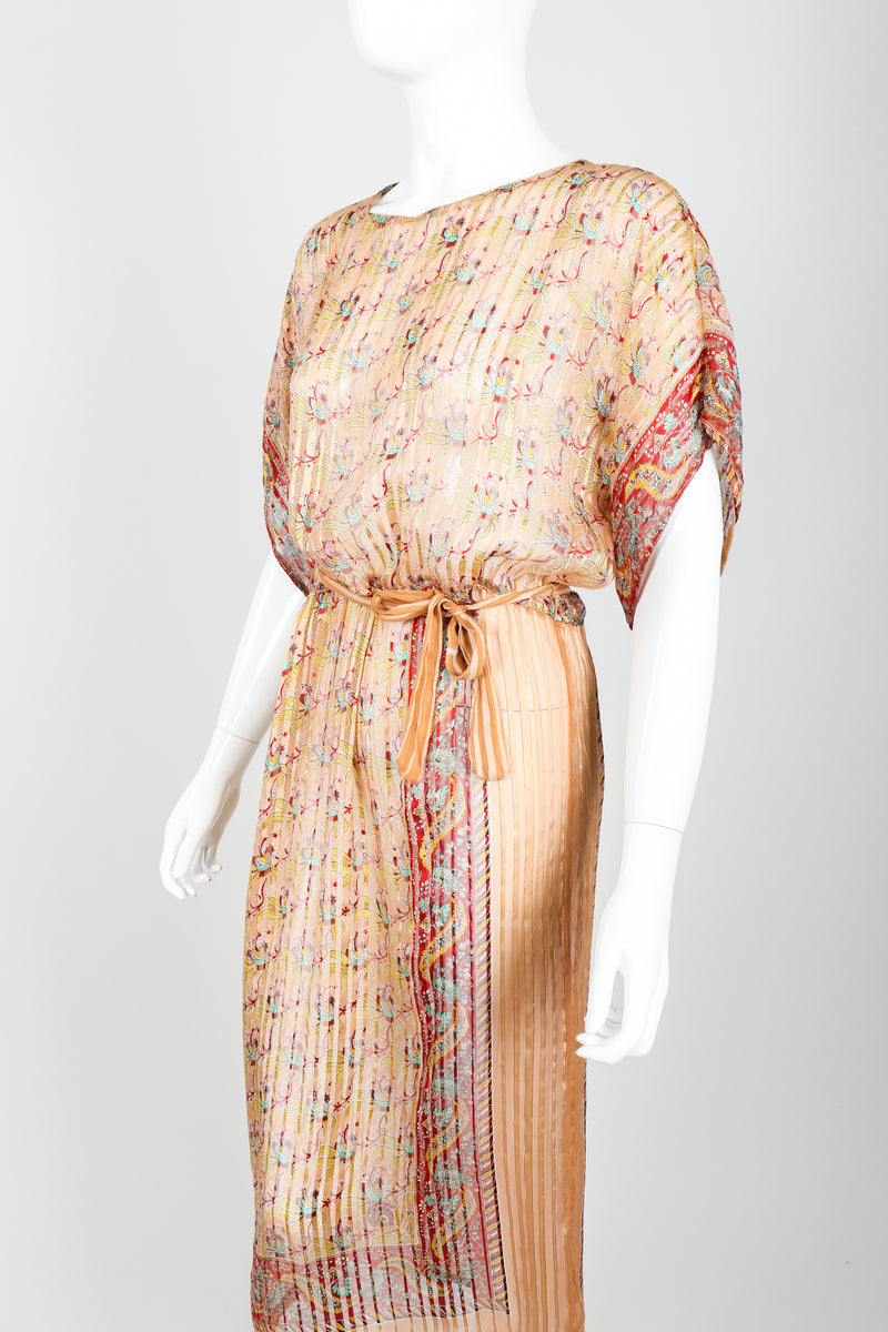Vintage St. Piel Sheer Silk Chiffon Stripe Sarong Dress on Mannequin angle crop at Recess