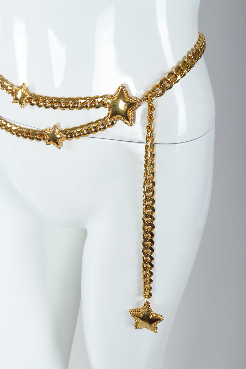 Vintage St. John Starry Draped Chain Belt Charm fob on Mannequin at Recess Los Angeles