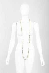 Vintage St. John Gold Faceted Diamond Rope Necklace Single Wrap on Mannequin at Recess