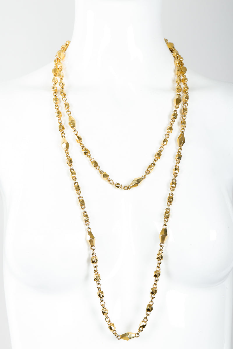 Vintage St. John Gold Faceted Diamond Rope Necklace Double Wrap on Mannequin at Recess