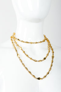 Vintage St. John Gold Faceted Diamond Rope Necklace Triple Wrap on Mannequin at Recess