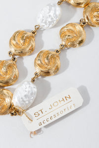 Vintage St. John Pearls & Gold Swirls Opera Necklace Tag