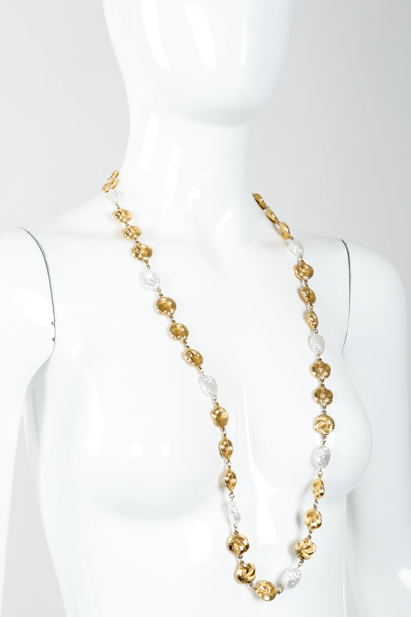Vintage St. John Pearls & Gold Swirls Opera Necklace on Mannequin at Recess