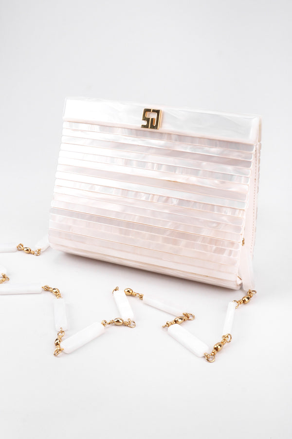 Recess Los Angeles Vintage St John Lucite Mother-of-Pearl Bridal Winter White Satin Clutch