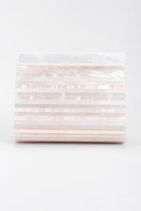 Recess Los Angeles Vintage St John Lucite Mother-of-Pearl Satin Clutch