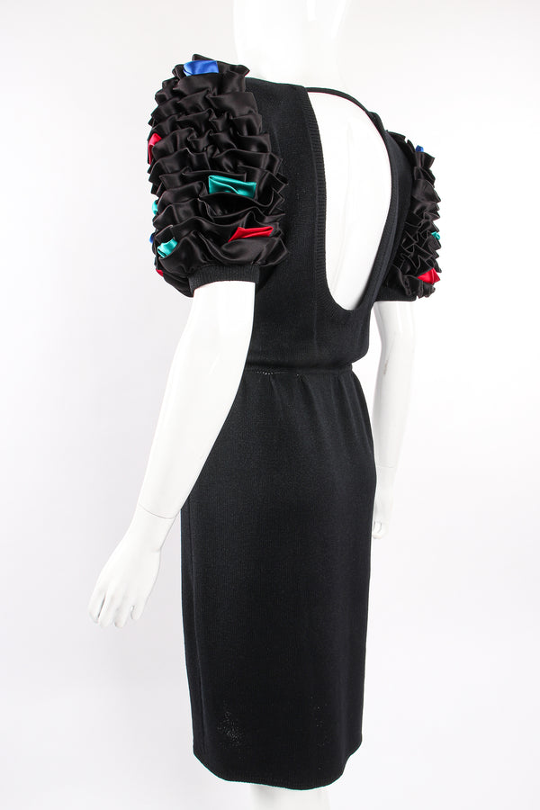 Vintage St John Ruffle Sleeve Knit Dress on Mannequin back angle at Recess Los Angeles