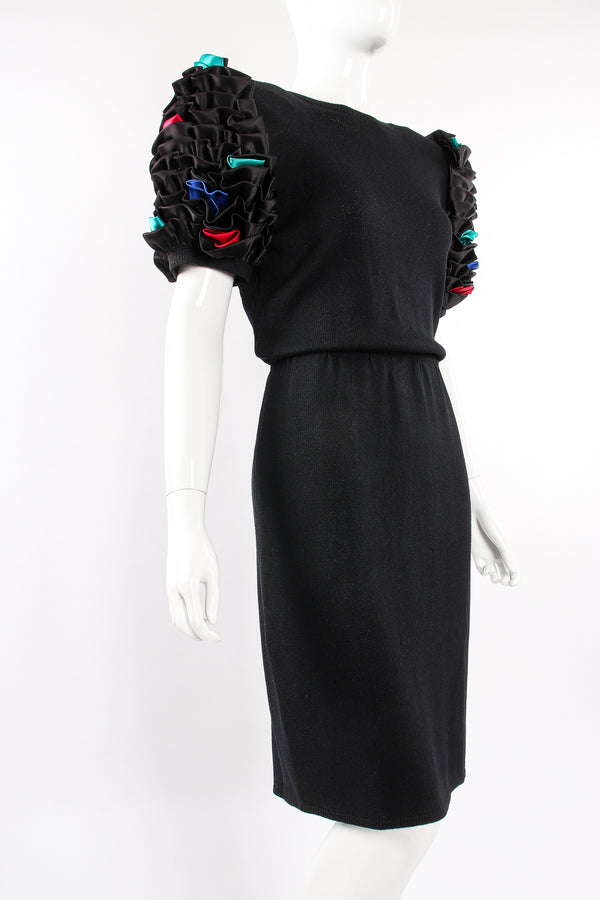 Vintage St John Ruffle Sleeve Knit Dress on Mannequin angle at Recess Los Angeles